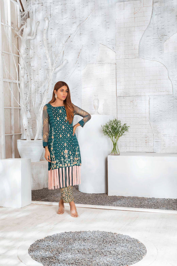 Luxury Pret, Pakistani Fashion Designer SMOKY GREEN - Phatyma Khan