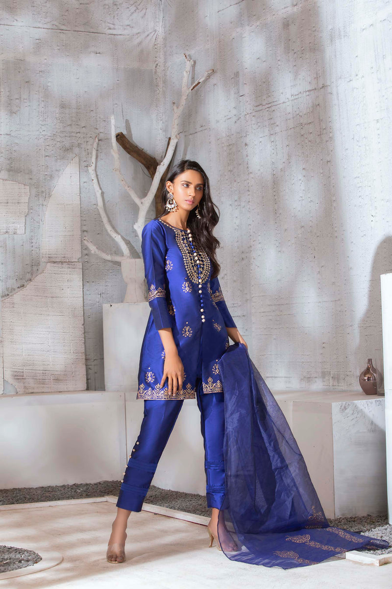 Luxury Pret, Pakistani Fashion Designer SLEEK BLUE - Phatyma Khan