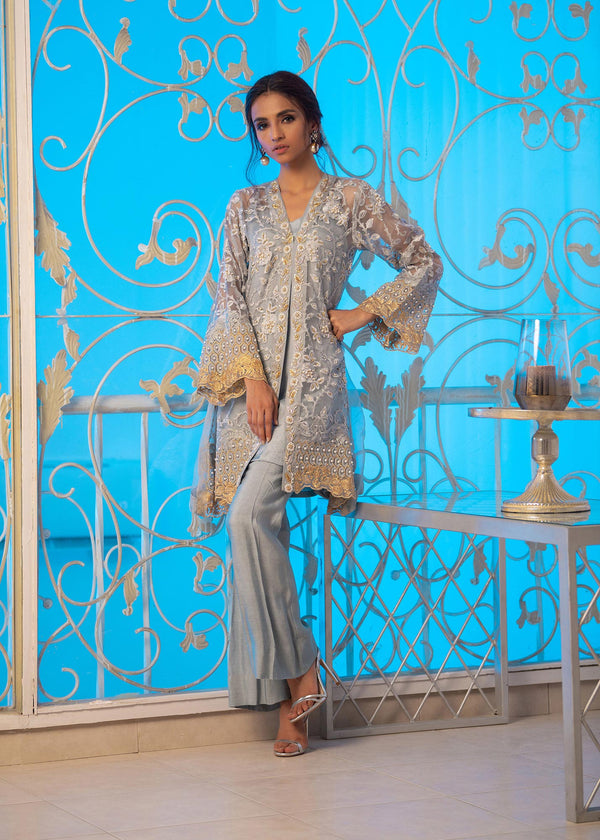 Luxury Pret, Pakistani Fashion Designer LUSCIOUS GREY - Phatyma Khan