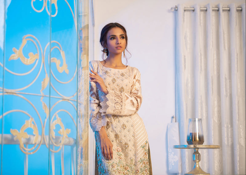 Luxury Pret, Pakistani Fashion Designer ROME BEIGE - Phatyma Khan