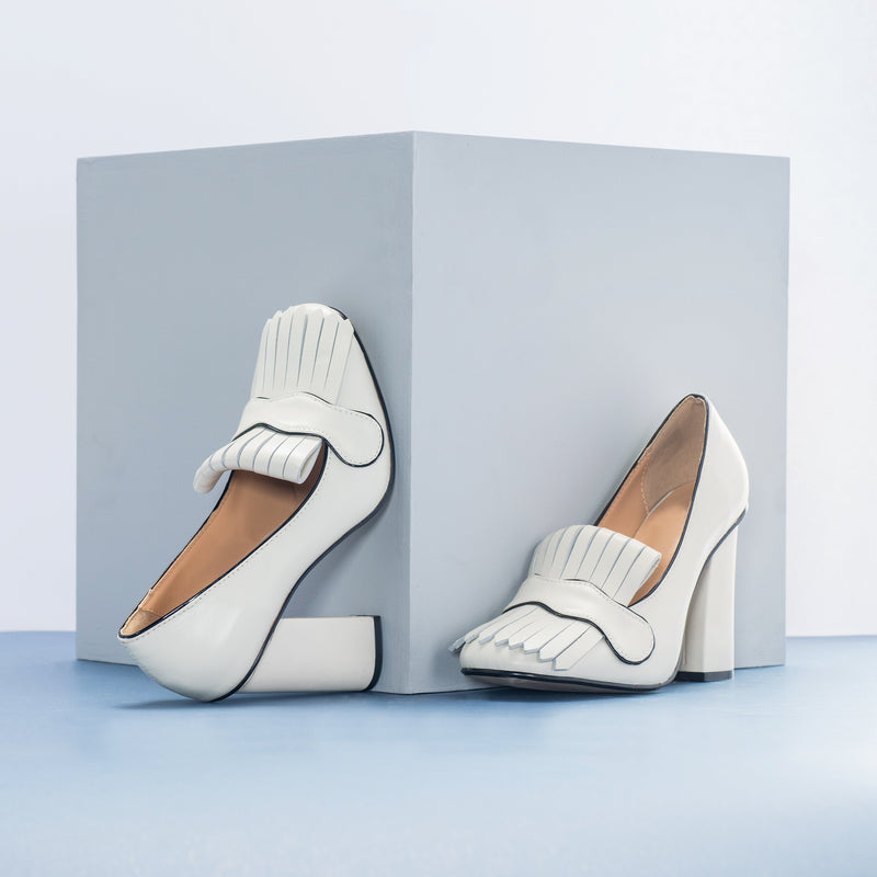Block Heel White