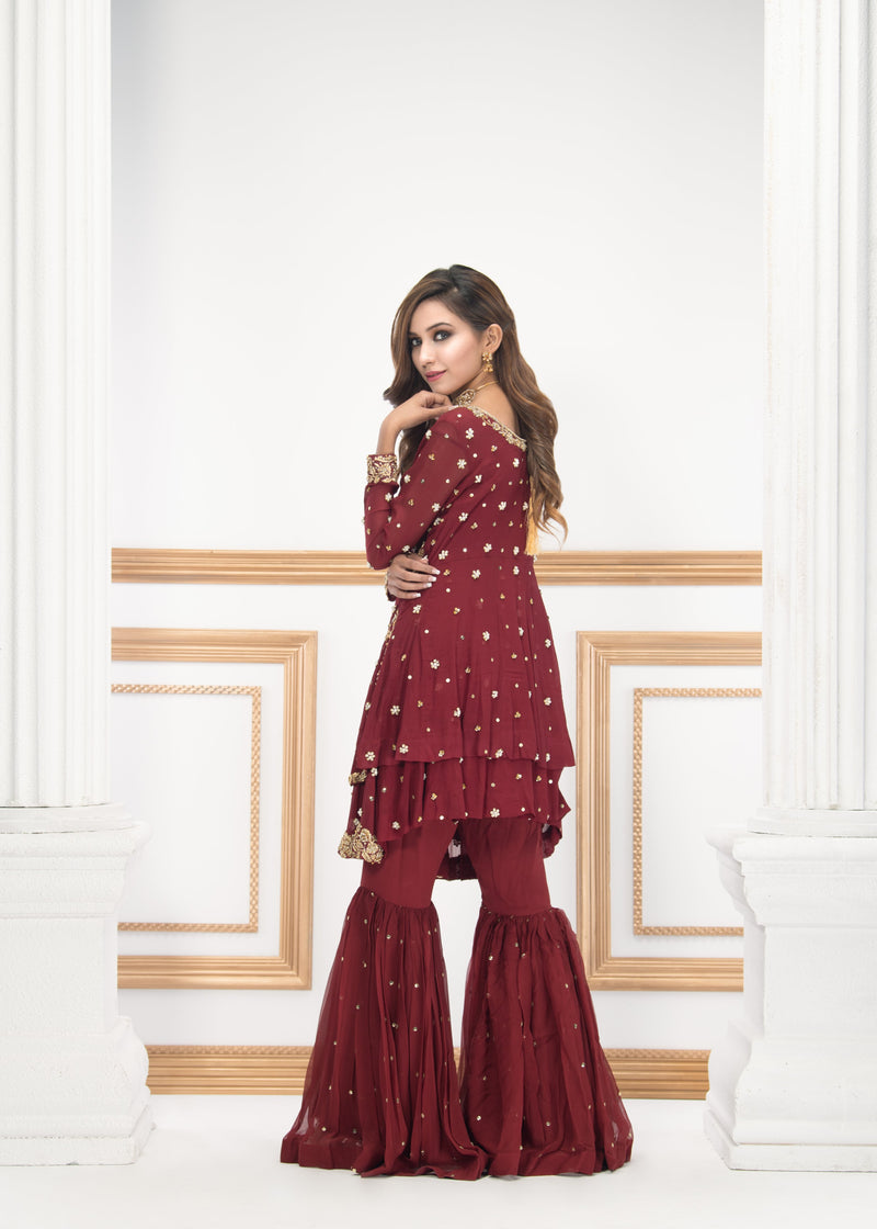 Luxury Pret, Pakistani Fashion Designer JEWEL RED - Phatyma Khan