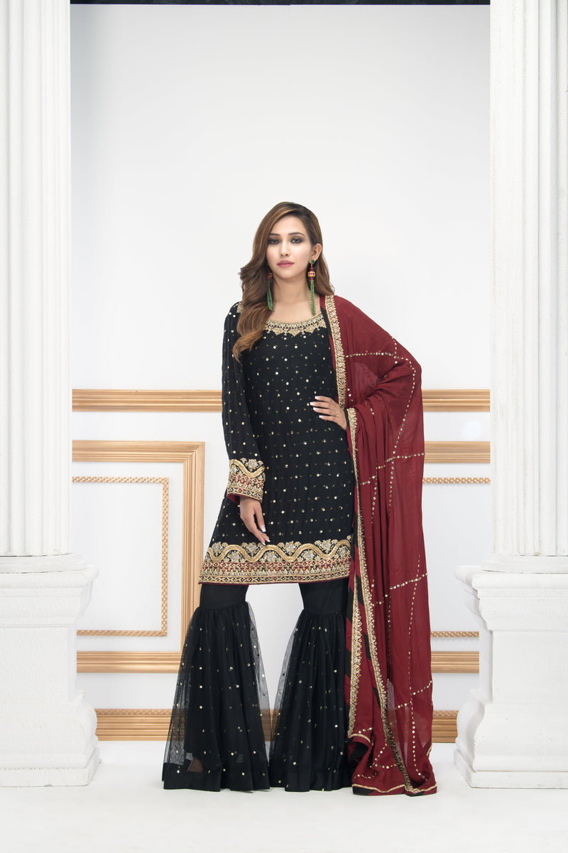 Phatyma Khan Luxury Pret Ready to Wear Festive Collection shop online now phatyma-khan DAZZLING BLACK