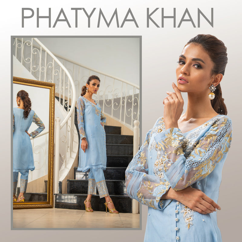 Luxury Pret, Pakistani Fashion Designer TEA POT BLUE - Phatyma Khan