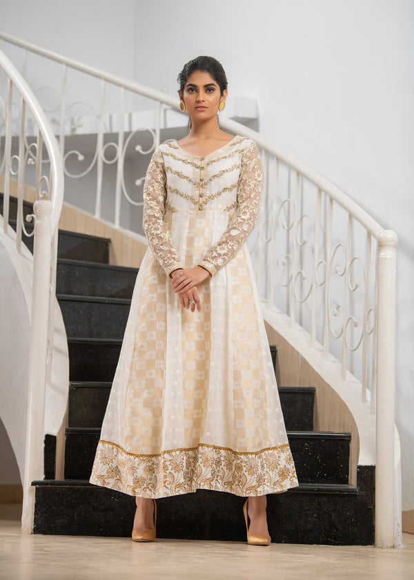 Luxury Pret, Pakistani Fashion Designer WHITE GOLD ANARKALI - Phatyma Khan