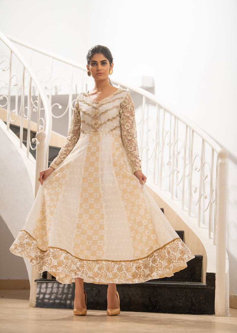 WHITE GOLD ANARKALI