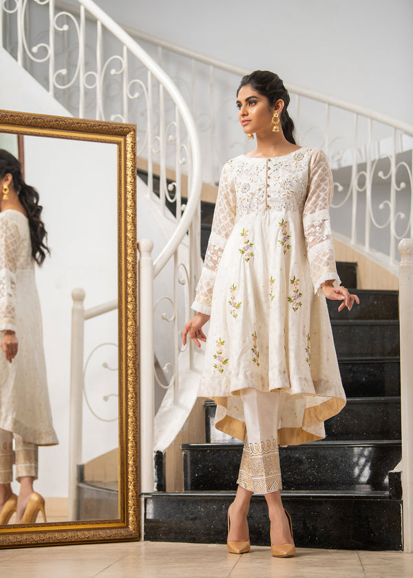 Luxury Pret, Pakistani Fashion Designer OCHER WHITE - Phatyma Khan