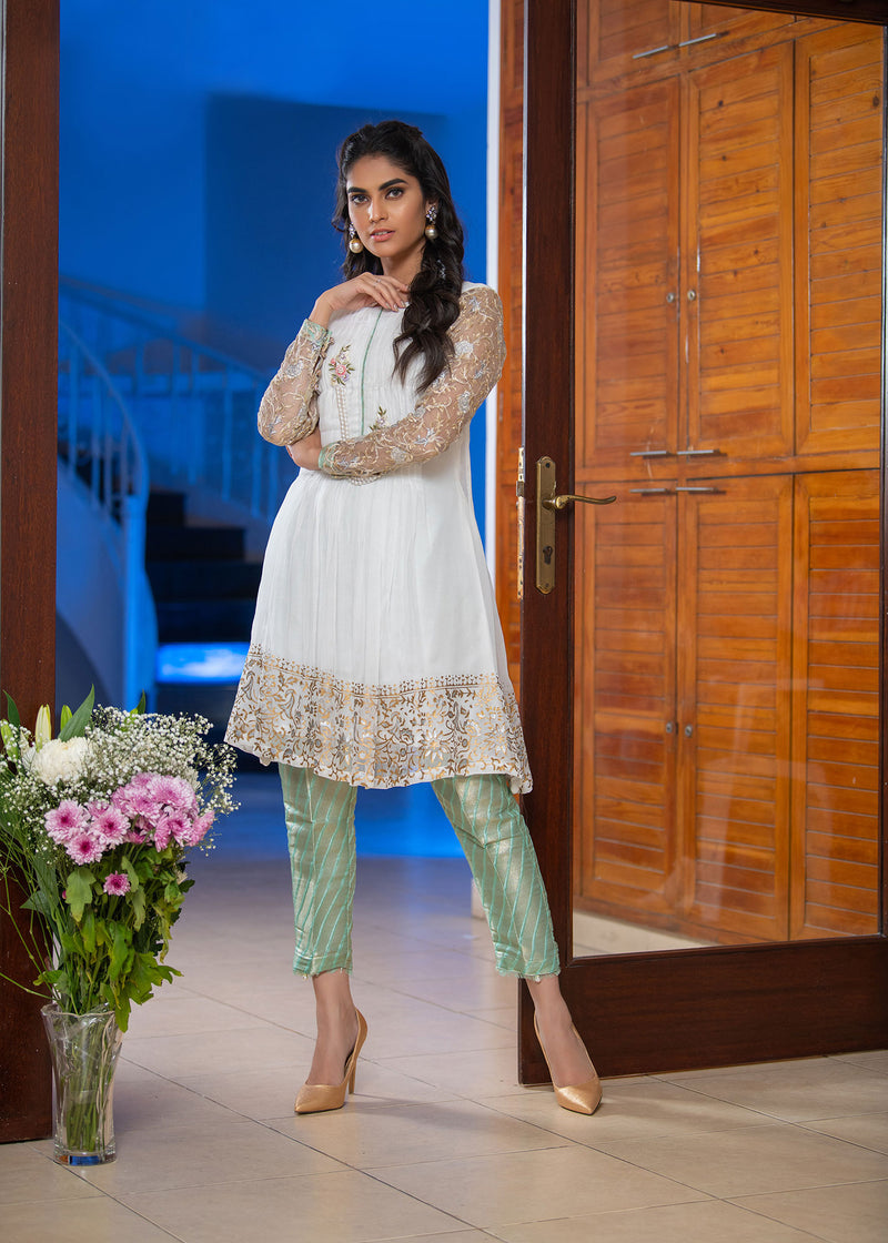 Luxury Pret, Pakistani Fashion Designer AQUA WHITE - Phatyma Khan