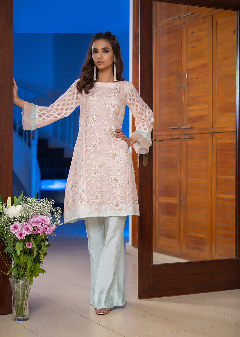 Luxury Pret, Pakistani Fashion Designer SCALLOP PINK - Phatyma Khan