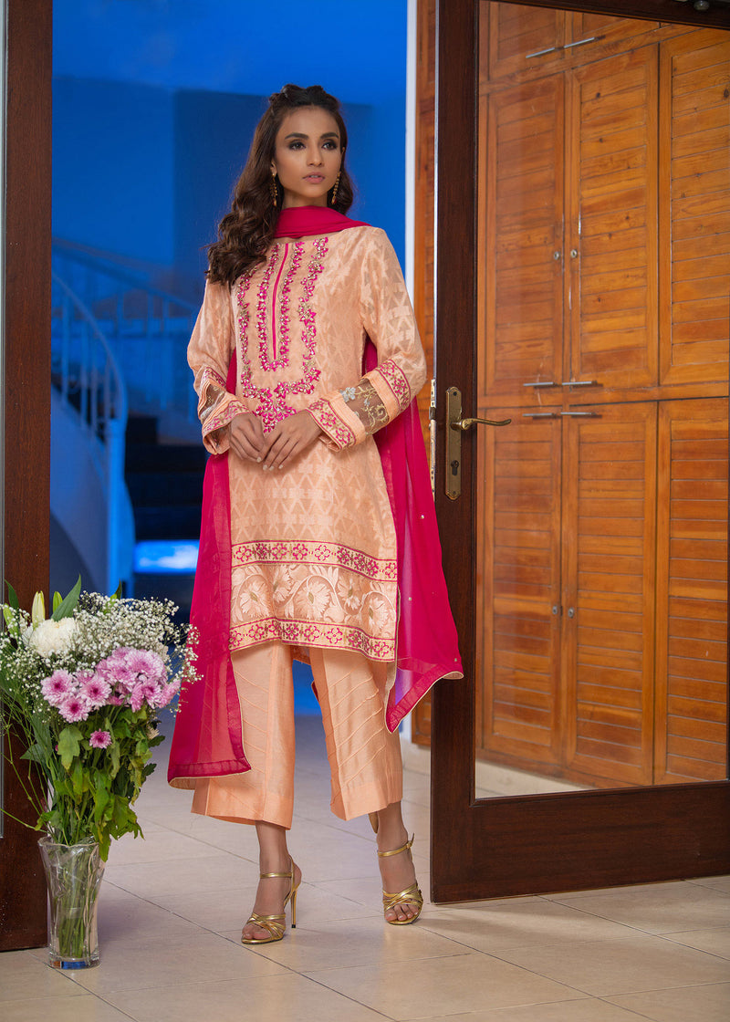 Luxury Pret, Pakistani Fashion Designer CORAL FUSHCIA - Phatyma Khan