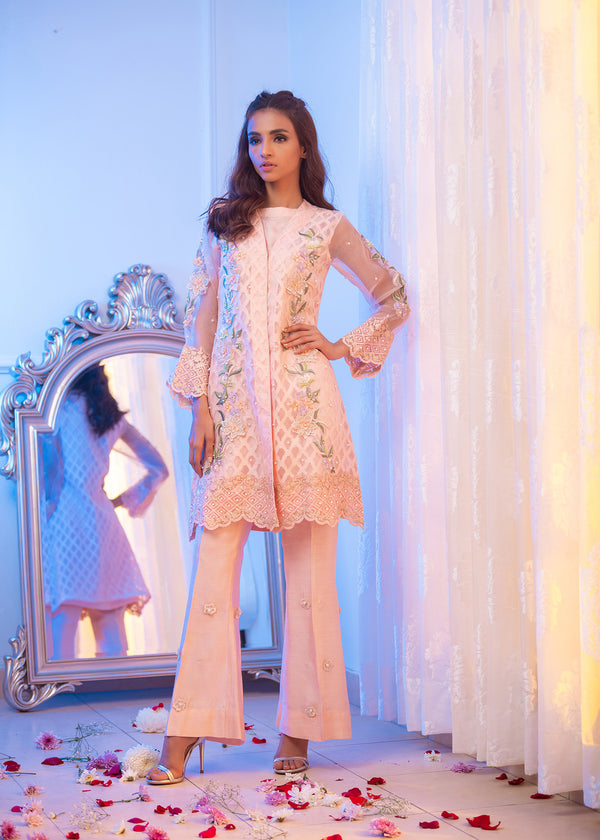 Luxury Pret, Pakistani Fashion Designer BLOSSOM PEACH - Phatyma Khan