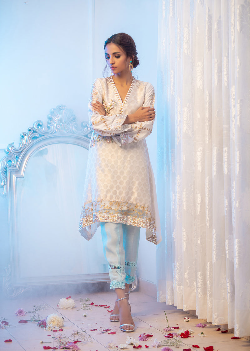 Luxury Pret, Pakistani Fashion Designer GRACEFUL WHITE - Phatyma Khan