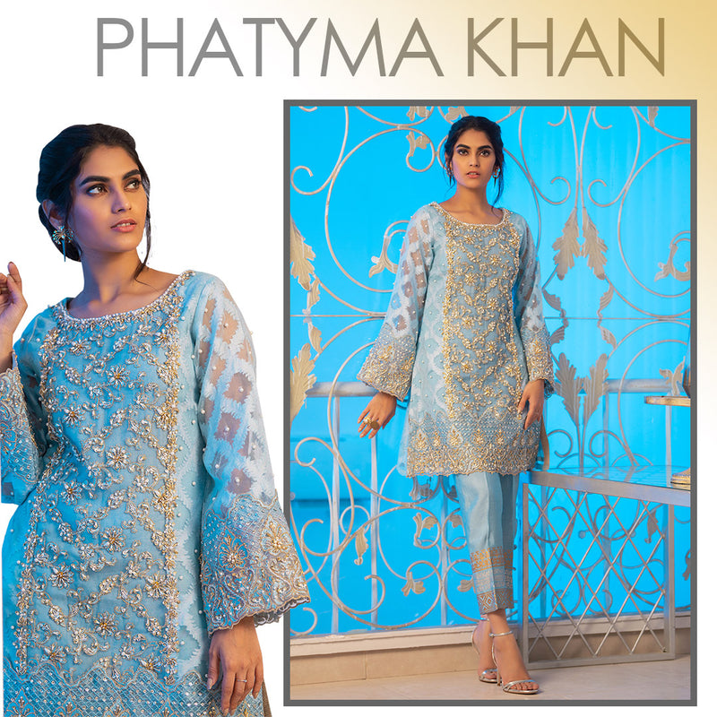 Luxury Pret, Pakistani Fashion Designer SHELL BLUE - Phatyma Khan