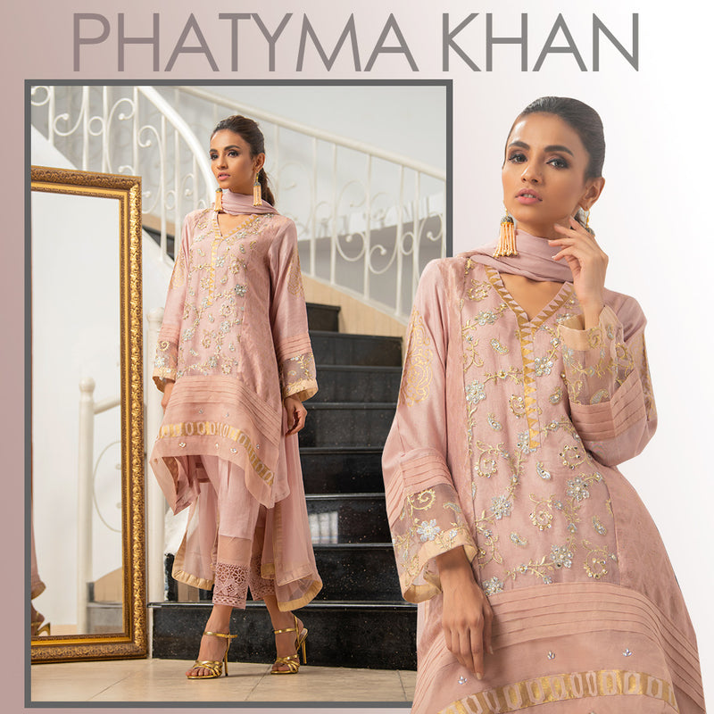 Luxury Pret, Pakistani Fashion Designer CREPE PINK - Phatyma Khan