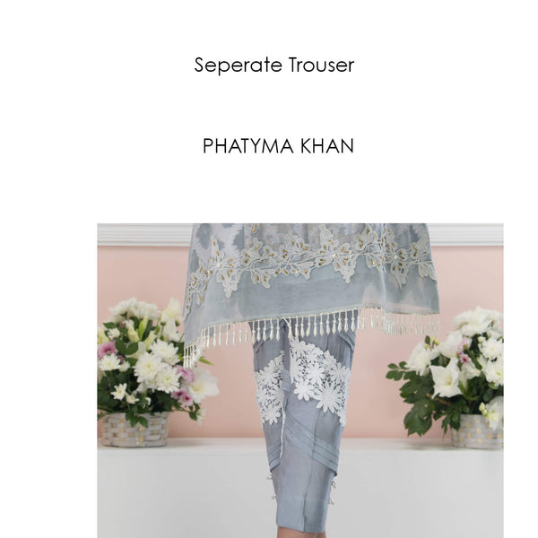 Luxury Pret, Pakistani Fashion Designer Allure Grey Trouser - Phatyma Khan