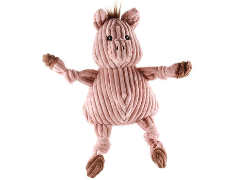 Hugglehounds Plush Corduroy Durable Barnyard Knottie Pig