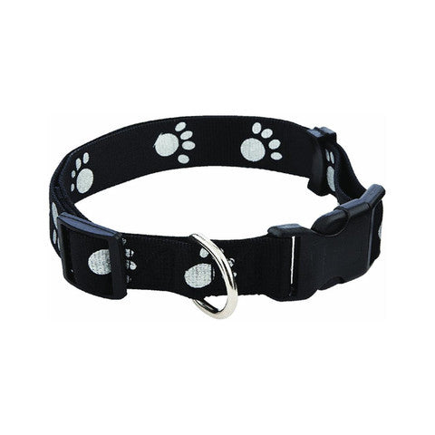 ADJUSTABLE  DOG COLLAR - PAW PRINT - 10-16""