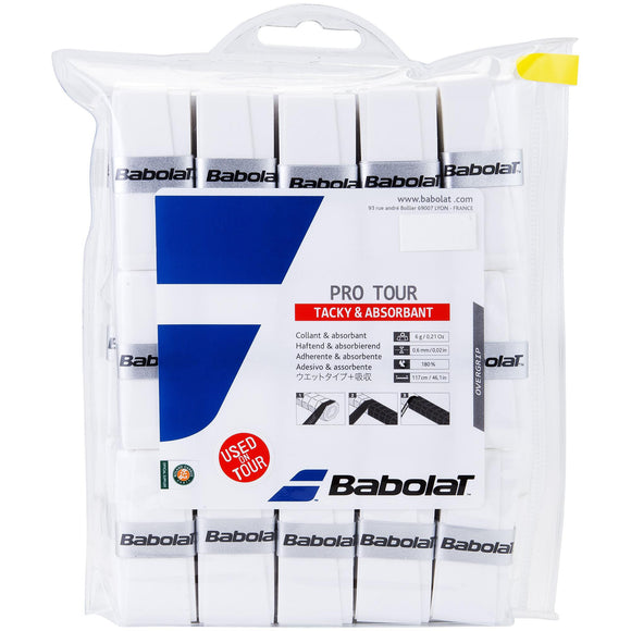 Babolat Pro Tour white overgrip 30 pack - VuTennis