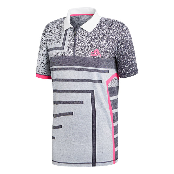 adidas Men's Polo Seasonal Grey/Shock Pink CY3334 - VuTennis