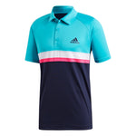 adidas Men's Tennis Polo Club Color Block Hi-Res Aqua D98739 - VuTennis