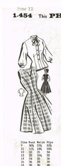 1950s Vintage Mail Order Sewing Pattern 1454 Uncut Misses Princess Dress Sz 32B