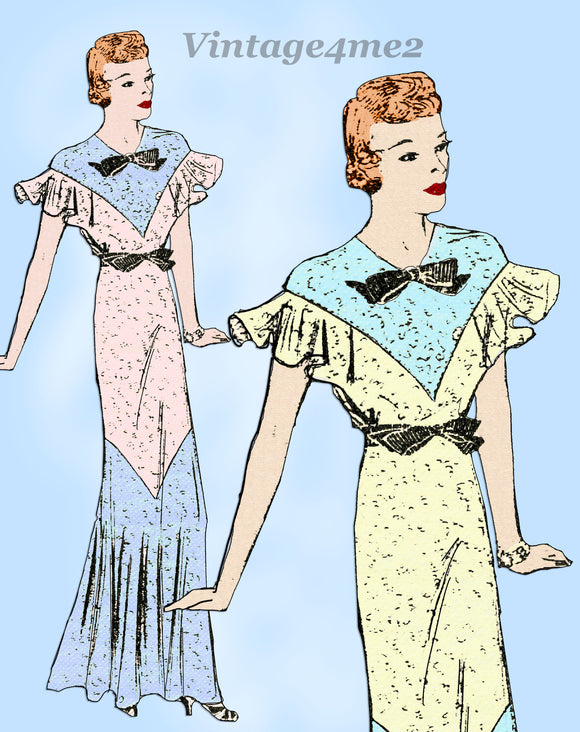 Mail Order 1621: 1930s Misses Graduation Dress Size 30 B Vintage Sewing Pattern - Vintage4me2