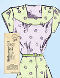 1940s Vintage Mail Order Sewing Pattern 1682 Misses WWII Day Dress Size 30 Bust