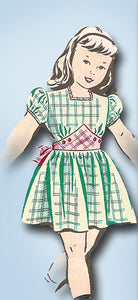 1940s Vintage Mail Order Sewing Pattern 1816 Little Girls Sunday Best Dress Sz 8