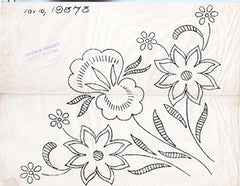 1920s Vintage Embroidery Transfer 19373 Uncut Floral Corners Pillows or Curtains