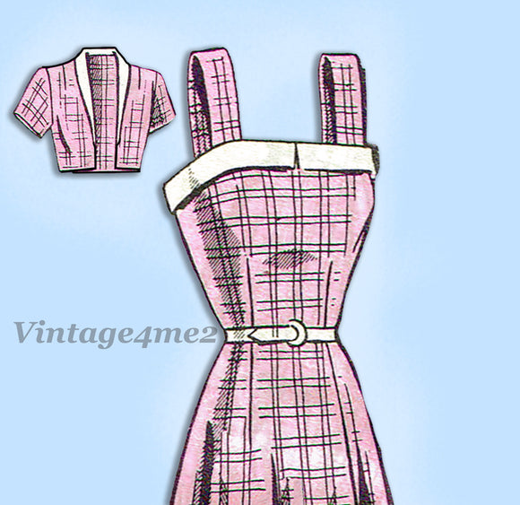 Mail Order 1955: 1950s Misses Sun Dress Size 34 Bust Vintage Sewing Pattern