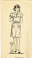 1930s Vintage Mail Order Sewing Pattern 2087 Toddler Girls Annie Dress Size 6