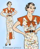 Anne Adams 2198: 1930s Lovely Misses Street Dress Sz 34 B Vintage Sewing Pattern