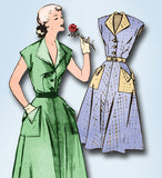 1950s Vintage Mail Order Sewing Pattern 2207 Misses House Dress Size 12 30B