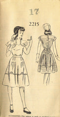 1940s Vintage Mail Order Sewing Pattern 2215 Uncut Misses WWII Dress Sz 17 35B - Vintage4me2