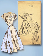 1940s Vintage Mail Order Sewing Pattern 2442 WWII Misses Street Dress Size 32 B