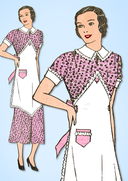 1930s Vintage Mail Order Sewing Pattern 2505 Misses Dress & Apron Size 14 32 B - Vintage4me2