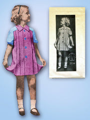 1930s Original Vintage Anne Adams Pattern 2534 Toddler Girls Pleated Dress Sz 4
