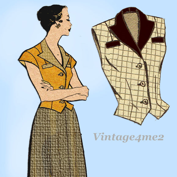 Fashion Service 2595: 1950s Misses Skirt & Weskit Vest 32B Vintage Sewing Pattern