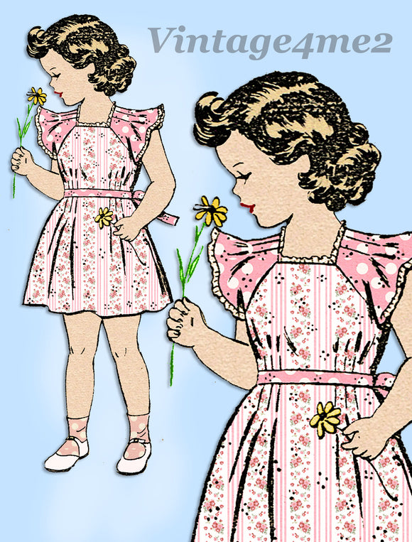 Fashion Service 2648: 1940s Easy Toddler Girls Dress Sz 6 Vintage Sewing Pattern - Vintage4me2