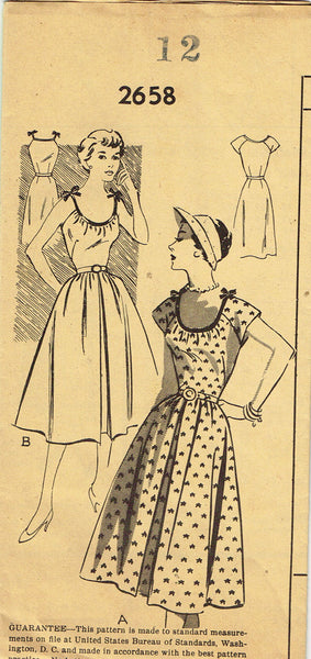 1950s Vintage Mail Order Sewing Pattern 2658 Easy Misses Sun Dress Size 12 30B