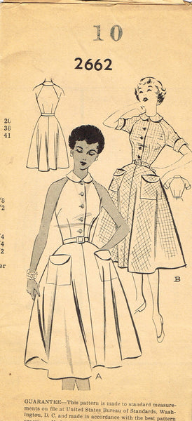 1950s Vintage Mail Order Sewing Pattern 2662 Misses Razor Back Sun Dress Size 10