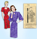 1940s Vintage Mail Order Sewing Pattern 2668 WWII Womens Keyhole Dress Size 36 B