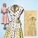 1950s Vintage Mail Order Sewing Pattern 2714 Misses House Dress Size 34 Bust