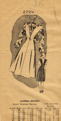 1940s Vintage Mail Order Sewing Pattern 2724 WWII Misses Jumper & Blouse Sz 34 B