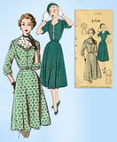 1950s Vintage Mail Order Sewing Pattern 2739 Uncut Misses Street Dress Size 35 B