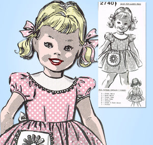 Mail Order 2740: 1950s Vintage Sewing Pattern Little  Girls Dress Crocheted Trim Sz 7 Vintage4me2