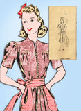 1940s Vintage Mail Order Sewing Pattern 2747 Misses Street Dress Size 32 Bust