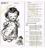 1940s Vintage Mail Order Sewing Pattern 2751 Uncut Little Angel Baby Sock Doll