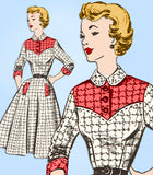Fashion Service 2764: 1950s Misses Western Dress Sz 32 B Vintage Sewing Pattern - Vintage4me2