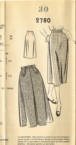 1950s Vintage Mail Order Sewing Pattern 2780 Uncut Ladies Slender Skirt Size 30 Waist